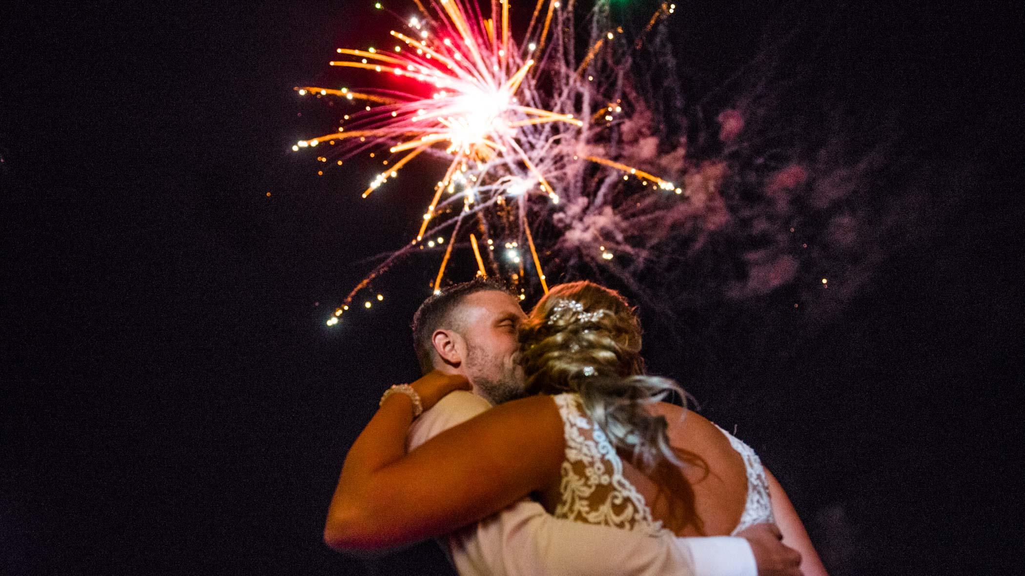 Vuurwerk op bruiloft